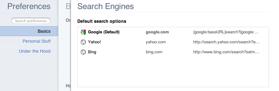 Google Chrome Search Engine Address Bar Preferences