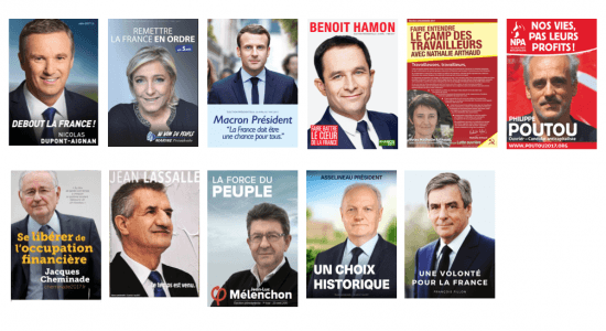 poster french presidential election candidates