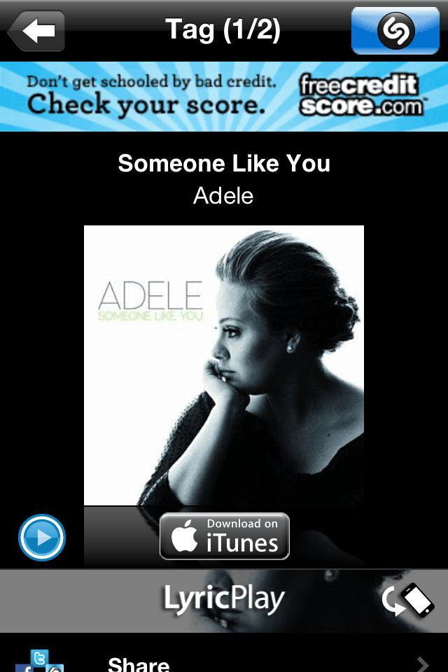 Shazam: Adele Someone Like You, with the Myndset