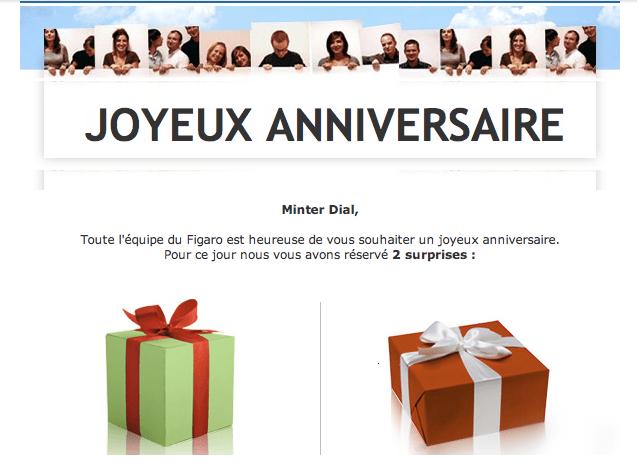 Le Figaro Birthday greeting, The Myndset Digital marketing and brand strategy