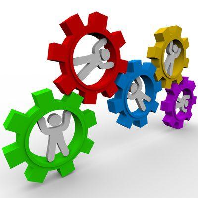 Digital Marketing Strategy - cogs teamwork at the Myndset Brand Strategy